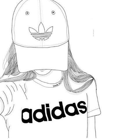 adidas, outline, and art image ,Adidas shoes. Outline Drawings, Girl Sketch,  Tumblr ...