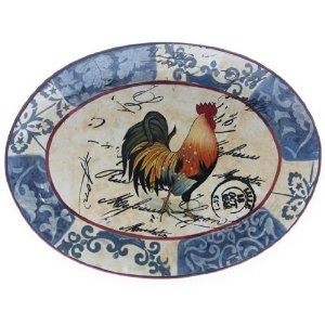 Lille Rooster Oval Platter - Chicken Dinnerware: Presents for Chicken Lovers