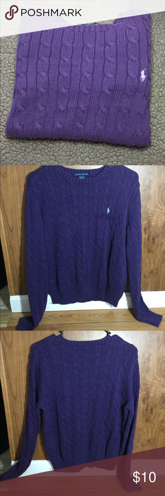 Polo Ralph Lauren Women's Crewneck cable sweater Good Used Condition  Polo Ralph Lauren  Women's long sleeve cable crewneck sweater  100% cotton Size: XL Color: purple with a purple pony From a smoke free and pet free home No stains Just a small hole in 1 armpit (see last picture) Ralph Lauren Sweaters Crew & Scoop Necks
