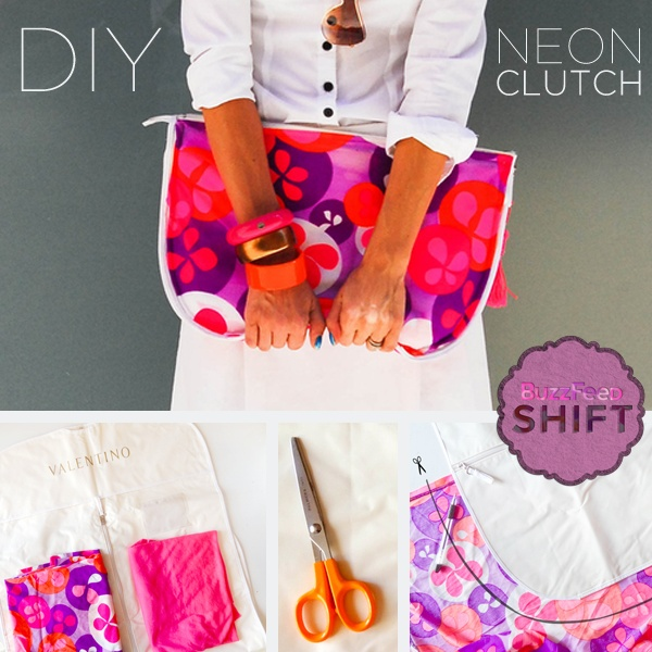 This adorable clutch is made from an old dress and a garment bag
