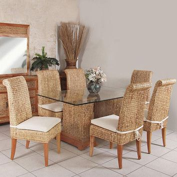 Sea Breeze Indoor Seagrass Dining Set With 6 Side Chairs Fabric: Palm Grove