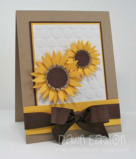 handmade card : Sunflowers FS300 by TreasureOiler  ... beautiful die cut sunflowers one a big dot embossing folder textured papel ... perfectly tied grosgran bow ... wonderful card!