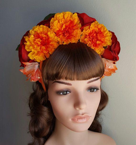 La Catrina Marigold Crown: Red Roses Marigolds Coral