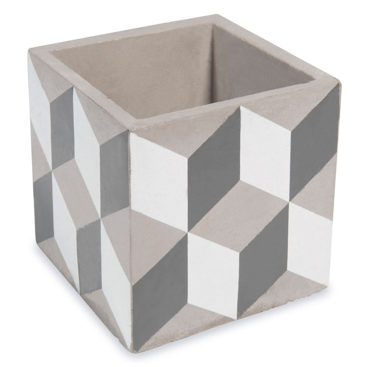 Cache-pot en ciment H 11 cm CUBIK