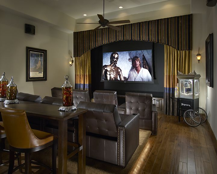 Theater/Stage. Cabinets At Base. Lighting Around Riser. Home Theater DesignMovie  ...