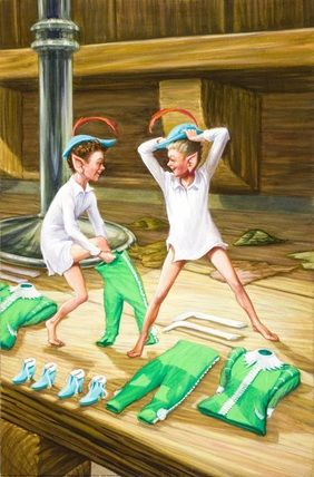 Elves And The Shoemaker -- Elves try on new clothes -- High quality art prints, framed prints, canvases -- Ladybird Prints