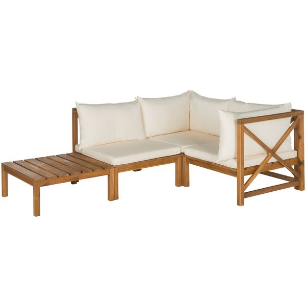 Perfect Good Safavieh Lynwood Modular Teak Brown/ Beige Outdoor Sectional