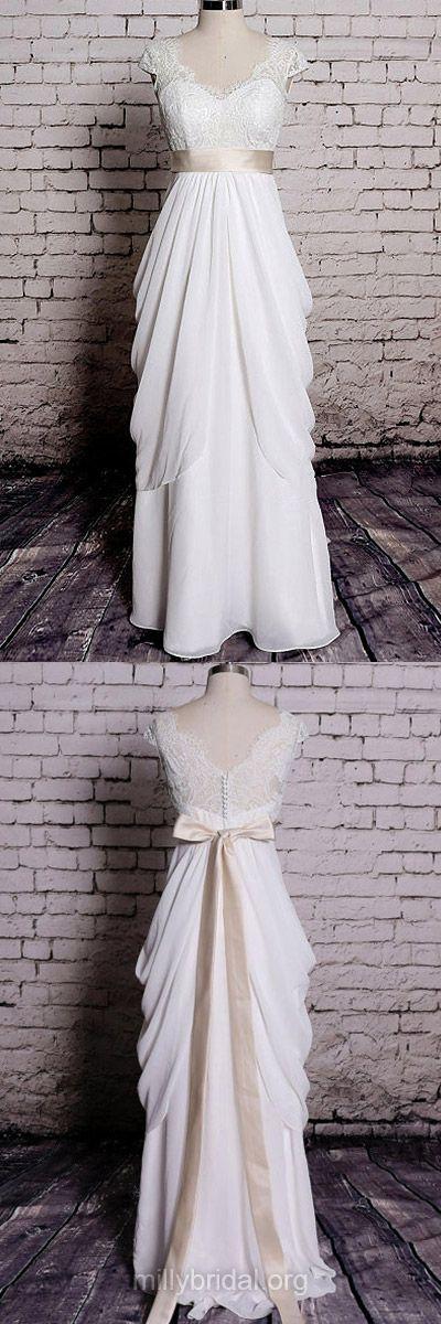 Lace Wedding Dresses, Ivory Bridal Dresses, V-neck Wedding Dresses, Sheath/Column Chiffon With Sashes/Ribbons Wedding Gowns