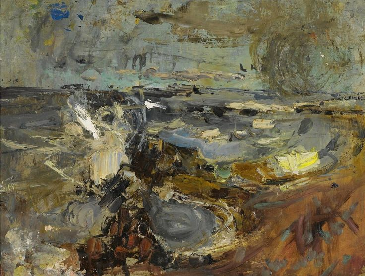 Joan Eardley (British, 1921-1963), Crashing Waves. Oil on board, 13 ¾ x 18 in.