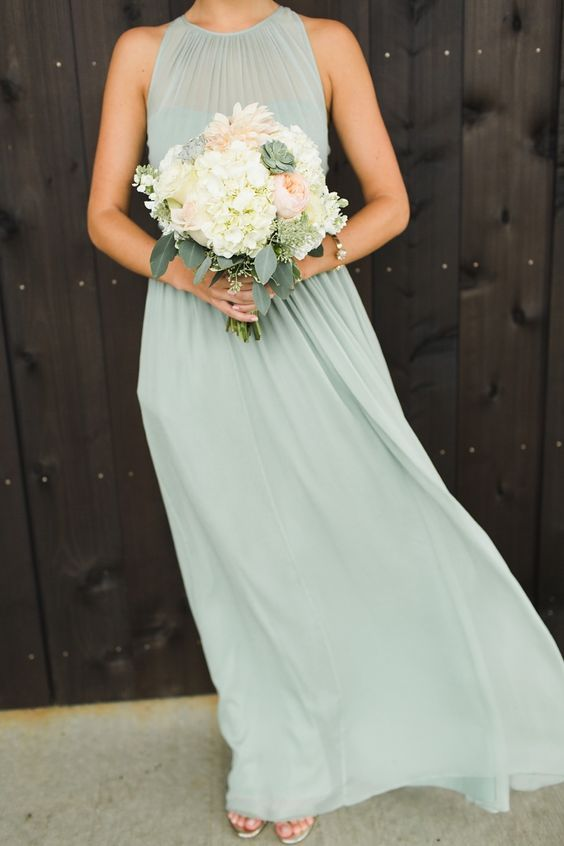 38 Beautiful Spring Bridesmaids' Dresses: simple pastel green bridesmaid's dress with a halter neckline