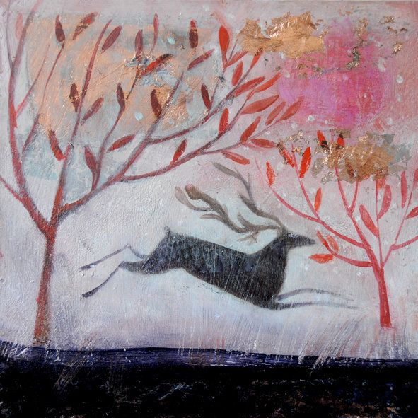 Country Living Editor Says  This beautiful greetings card features a reproduction of the striking painting 'The Cranberry Dawn' by artist Catherine Hyde.  The card is blank inside for your own message.  Measurements: Image size 10.5cm x 10.5cm with white border; overall card size 13.5cm x 13.5cm.