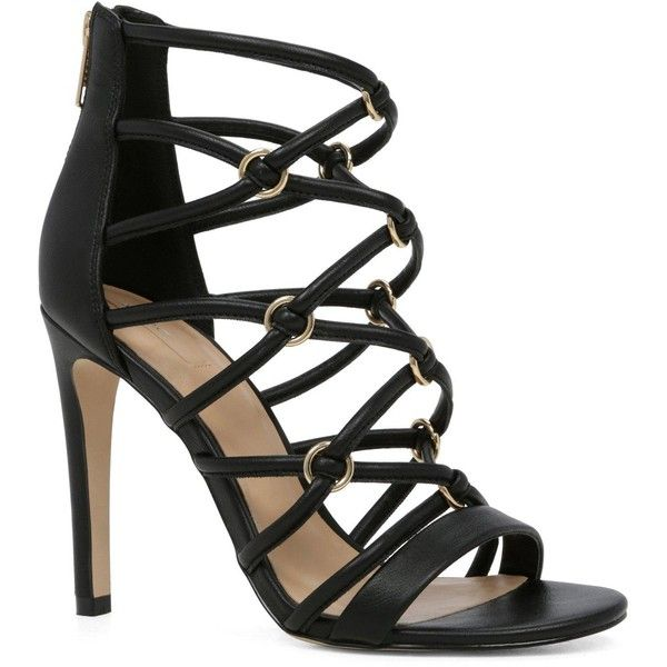 Aldo Miramichi Caged Heeled Sandal ($46) ❤ liked on Polyvore featuring shoes, sandals, high heel sandals, metallic sandals, black peep toe sandals, peep toe sandals and aldo sandals