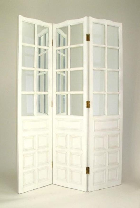 Nice Elegant and Fascinating White Wooden Room Divider with Glass
