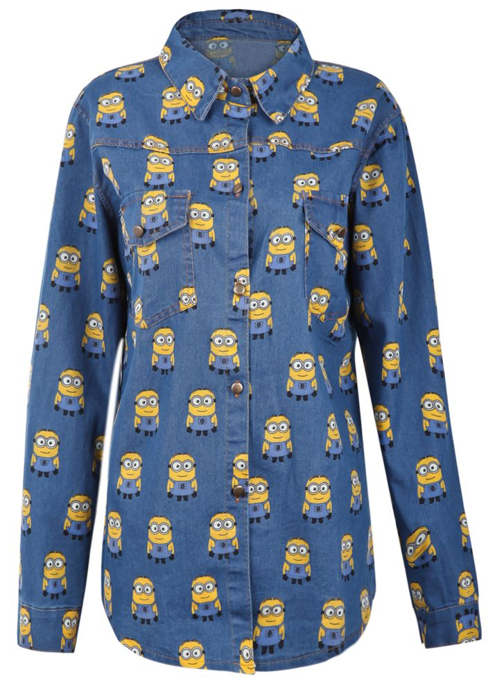 Dark Blue Overlay Minion Print Curved Hem Denim Blouse #jeans #camicia #cartoon