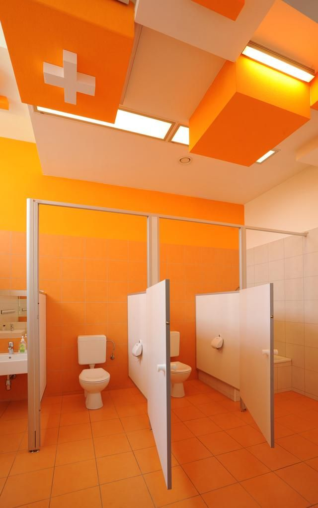Colorful refurbishment kindergarten bathrooms architecture pinterest kindergarten Public bathroom design architecture