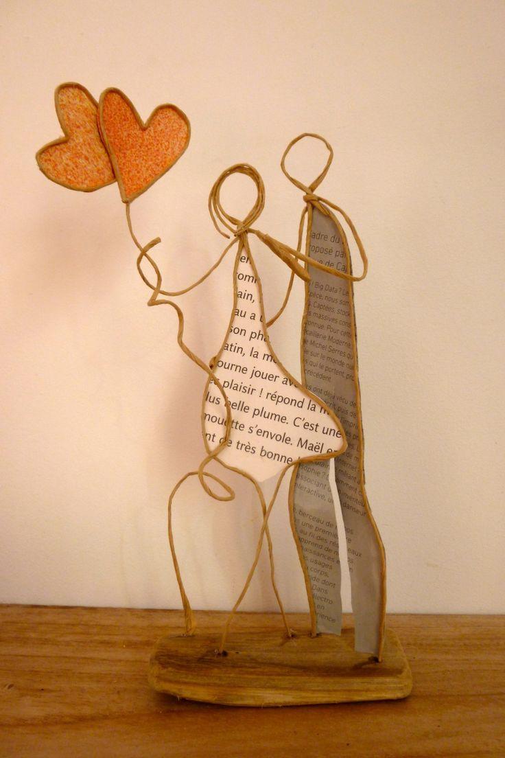 Complicité - figurines en ficelle et papier