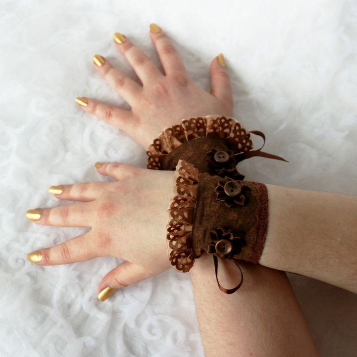 Brown wrist cuffs, bracelets, wrist wraps, steampunk, princess, romantic, fantasy by AlicesLittleRabbit on Etsy