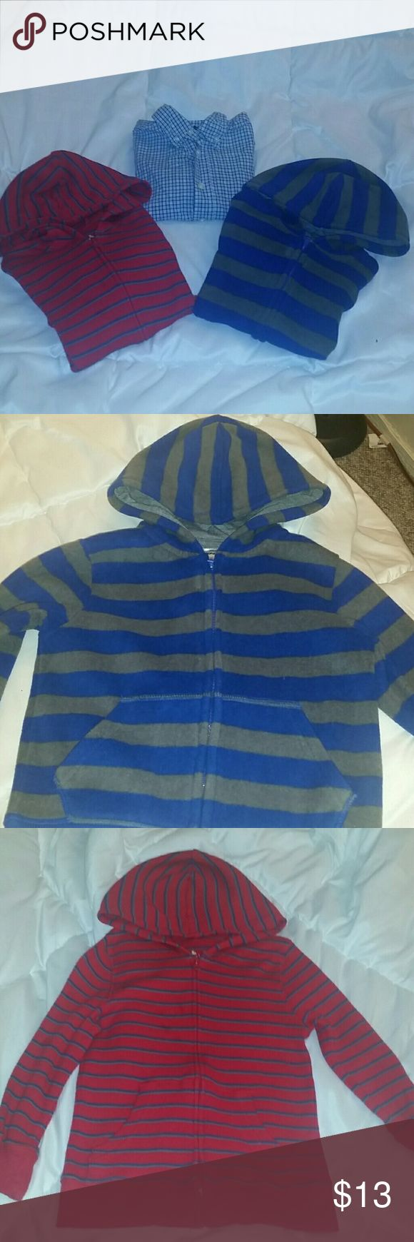 Boys 4T 3 Piece Bundle All size 4T and excellent condition.  Osh Kosh brand button up,  collared long sleeved shirt.  Shades of blue plaid with green lining.    Garanimals blue and gray striped zip up hoodie.   Jumping Beans brand zip up hoodie. Red with thin blue and gray stripes. Other