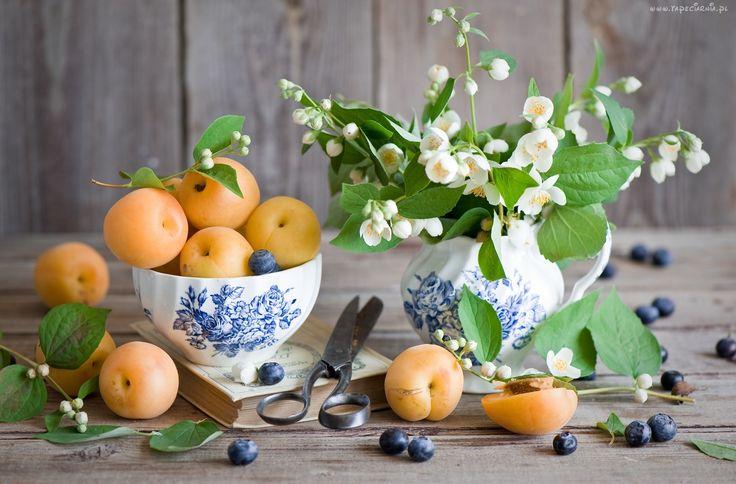 Kwiaty, Jasmin, Owoce, Morele