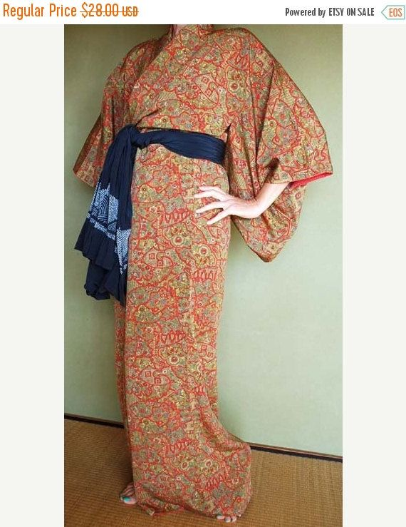 ON SALE Japanese Vintage Kimono robe wedding robe sexy asian bathrobe night gown dress