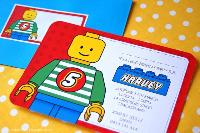 Printable Lego Themed Birthday Invitations