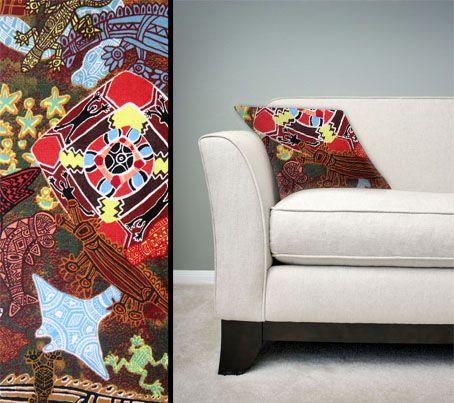 Design:  Heart of my People Size: 50cm square - 100% cotton - zip Australia Made Code: CUSH-BUL02 Price: $30.00