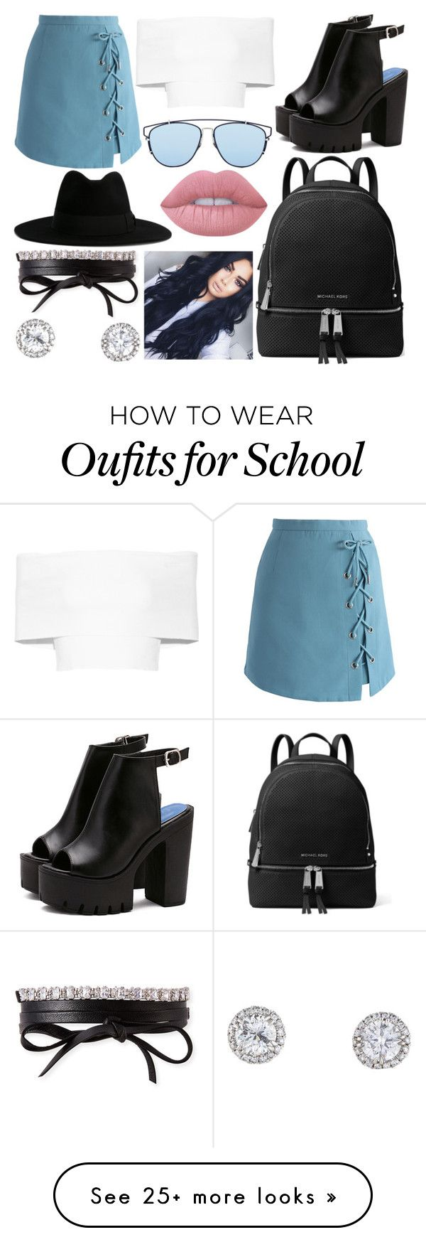 """""""School Day"""" by susanna-trad on Polyvore featuring Rosetta Getty, Chicwish, Christian Dior, MICHAEL Michael Kors, Yves Saint Laurent, Lime Crime and Fallon"""