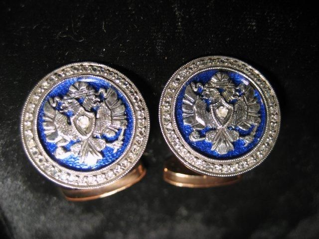 Faberge gold cufflinks, with blue enamel & diamonds. With  Russian double eagle. c. 1900