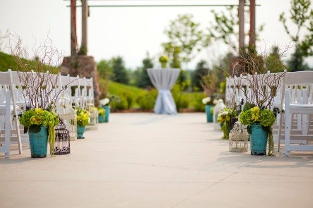 Aisle Runner: Potted Plants Or Plants In Vases