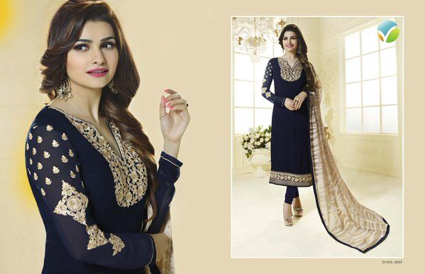 Stunning Georgette Collection by Vinay Fashions. Prachi Desai Gorgeous Suits With Fancy Brasso Dupatta @ 2099 only!