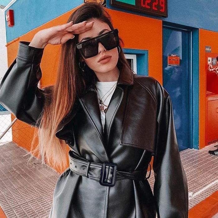 Oversized PU Leather Belted Coat   Faux leather coat