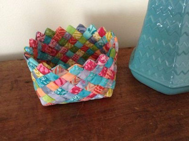 Cool Crafts  You Can Make With Fabric Scraps - Woven Fabric Basket - Creative DIY Sewing Projects and Things to Do With Leftover Fabric and…