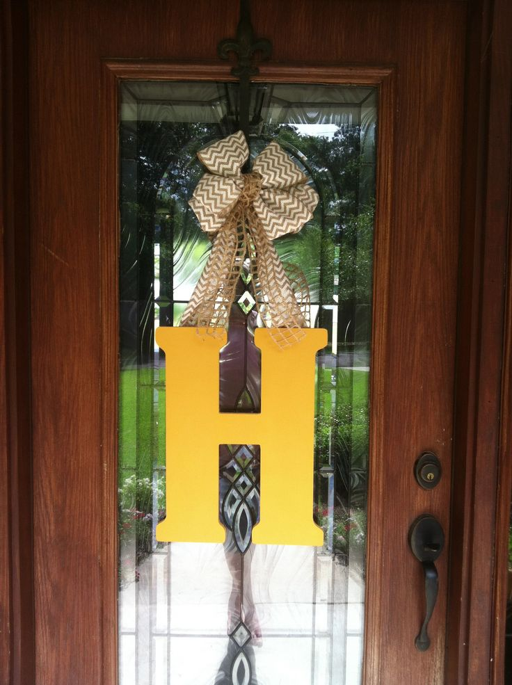 Initial Door Hanger Hobby Lobby Wooden Letter Acrylic Paint And Sealer And The Ribbon Of Your