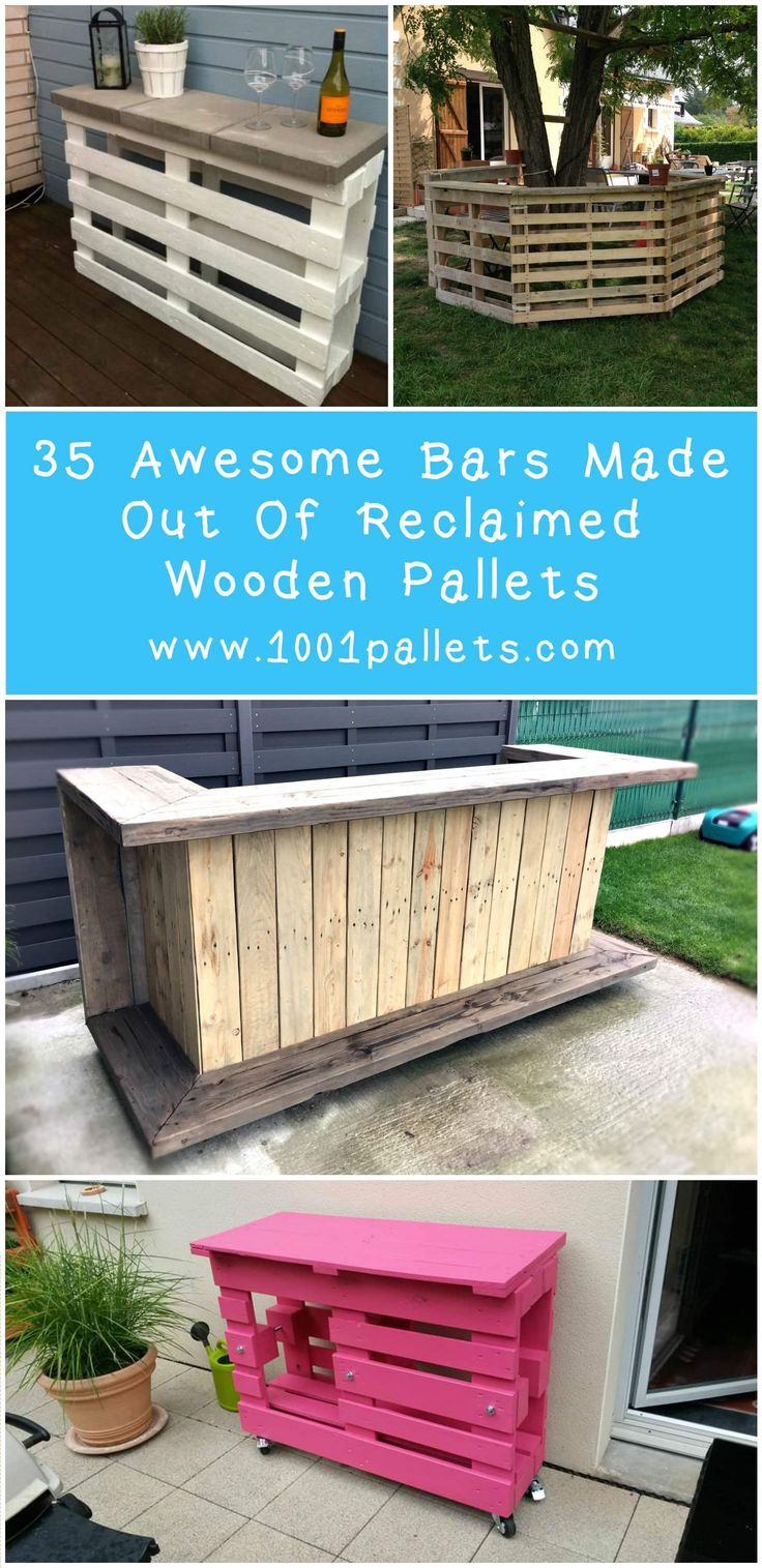 Another Tiki bar, perfect for your backyard. This one is made from 3 discarded pallets for the base and a …