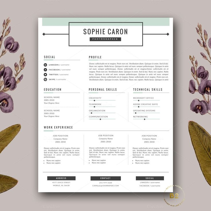 resume cover letter template by botanica paperie on creativemarket