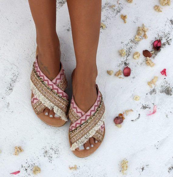 Sandali di cuoio fatti a mano artigianali Sandali sandali in