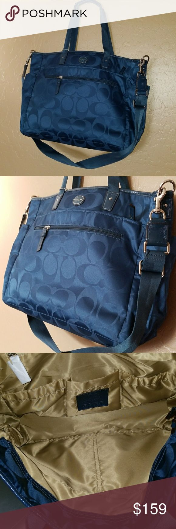 Coach diaper bag Nice nylon and leather coach diaper bag brand new with out tags. Lots of storage and super clean as it should be. Coach Bags Baby Bags