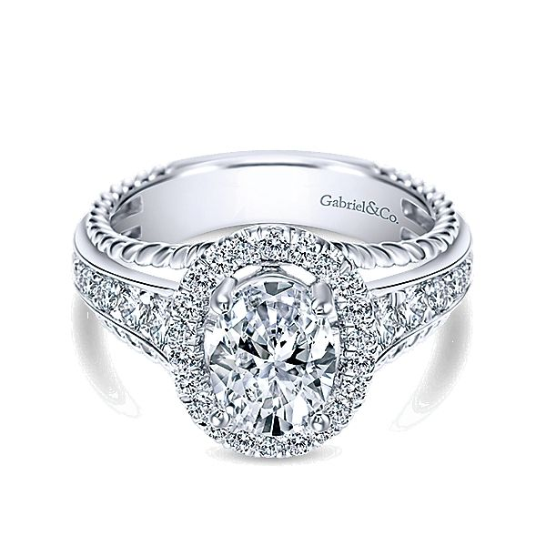 Gabriel & Co. - 14k White Gold Oval Halo Engagement Ring.