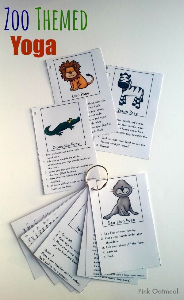 Zoo Yoga - Such a fun way to incorporate yoga into the home or classroom!  Love it as a therapy idea! - Pink Oatmeal