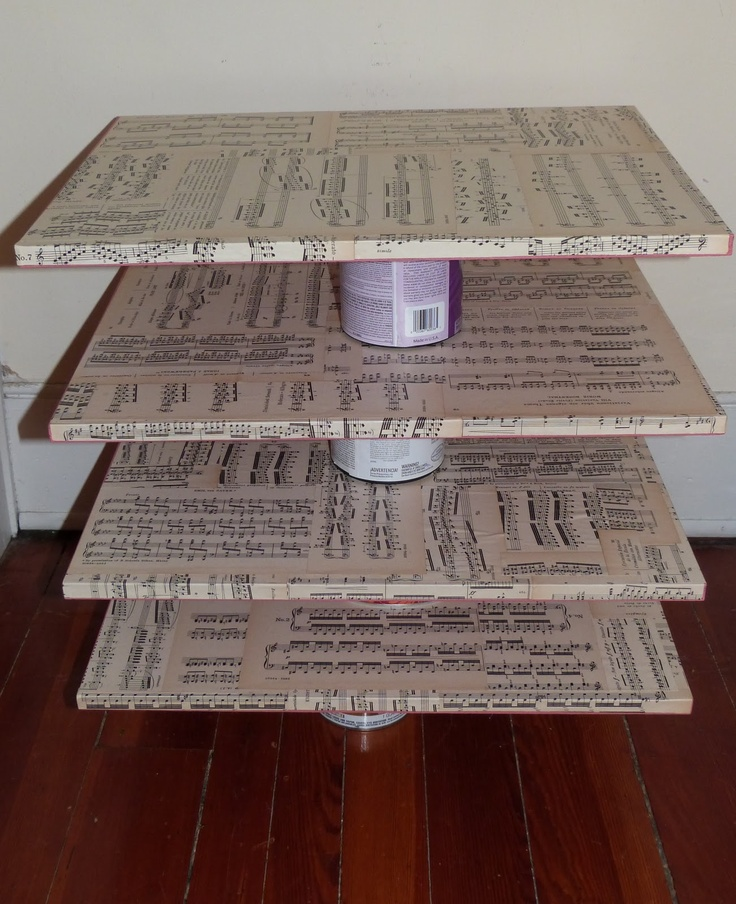 Cupcake stand with sheet music.. would look great with BLACK cup cake wrappers.. too much with sheet music cupcake wrappers..