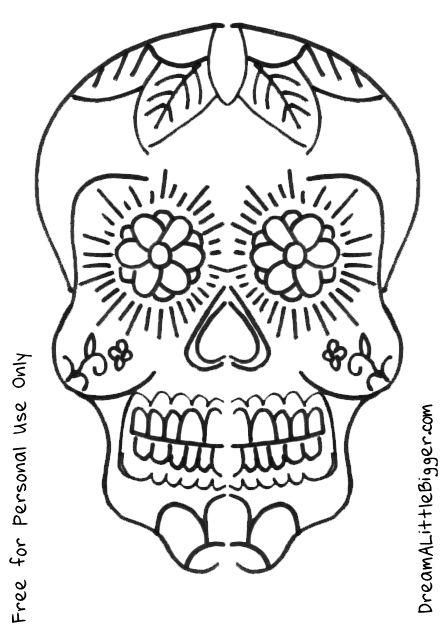 219 best printable sugar skulls coloring images on pinterest ... - Simple Sugar Skull Coloring Pages