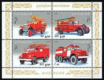 почтовая марка  пожарные машины
