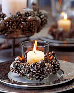 Pine cone place setting... Absolutely beautiful! and If you want to DIY be sure to bake the cones before you glue them to the candle to rid of all the little critters!