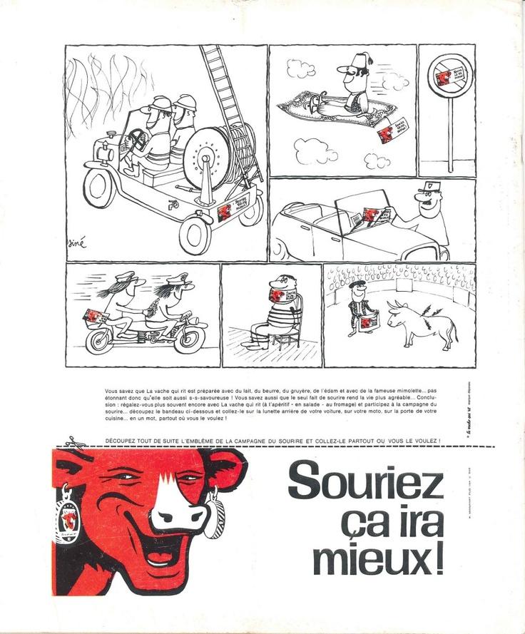 """La Vache qui rit: """"Souriez ça ira mieux!"""" (dessins de Siné) - Le nouveau Candide, 29 août 1966"""
