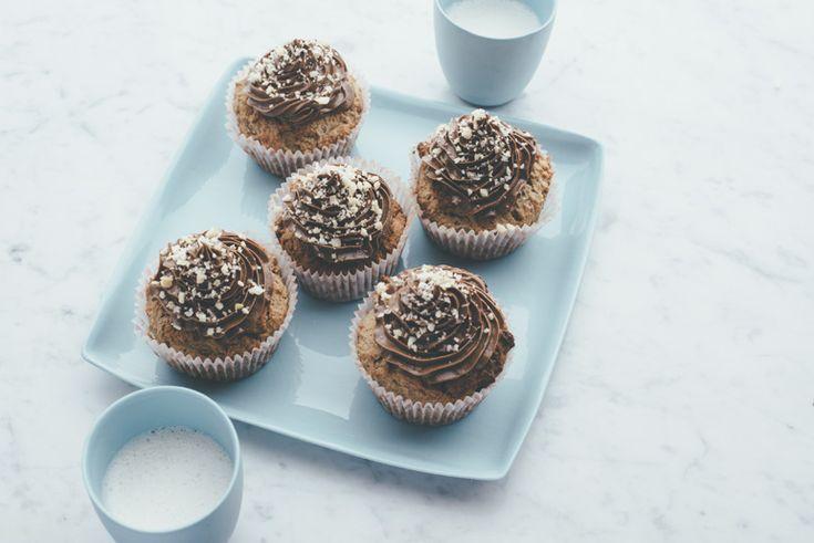 Chocolate macadamia coconut cupcakes with choc mac frosting