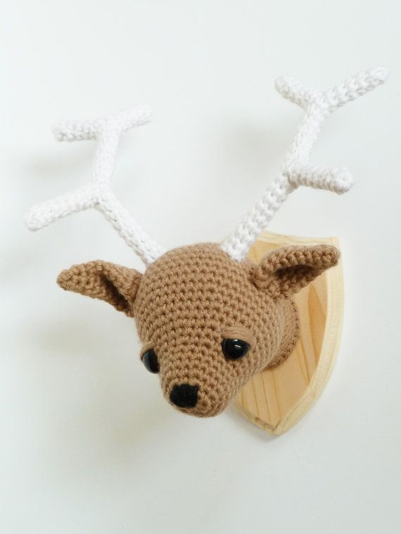 Faux deer taxidermy Deer head crocheted by CreepyandCute