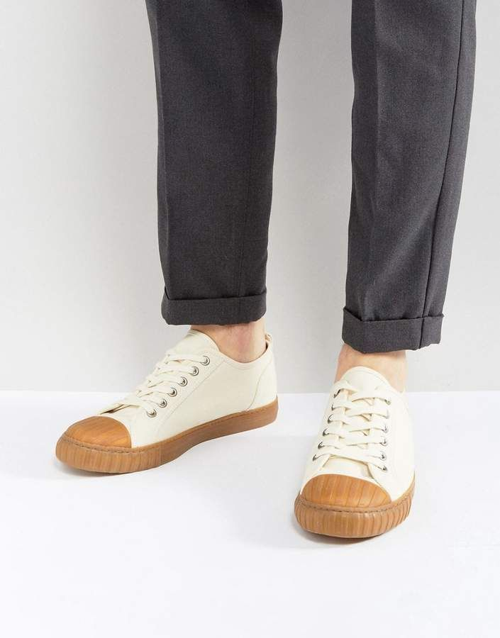de0dc7371d9e ASOS Lace Up Sneakers In Off White Canvas With Gum Sole Plimsolls by ASOS