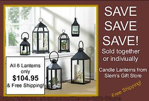 All 6 Lanterns / Display Cases only $104.95 *OR* purchase individually! *FREE SHIPPING!!* CANDLE LANTERNS BLACK REVERE AND/OR CONTEMPORARY CANDLEHOLDERS DISPLAY CASES http://stores.ebay.com/Slems-Gift-Store or order directly from me at dslem3@yahoo.com for 20% off anything in the store!
