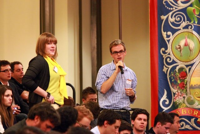 Question from the audience at ACTU Youth Congress.