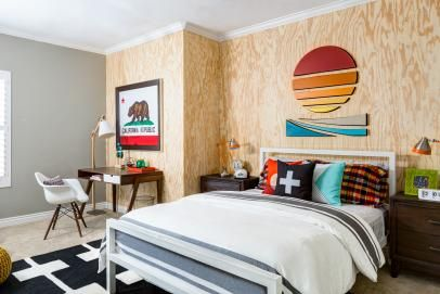 Neutral Contemporary Boy's Bedroom With California Flag